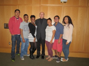 Students from the Latin American Organization and film director Eduardo Lopez
