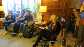 Dean Mansfield-Richardson (right) speaking with students