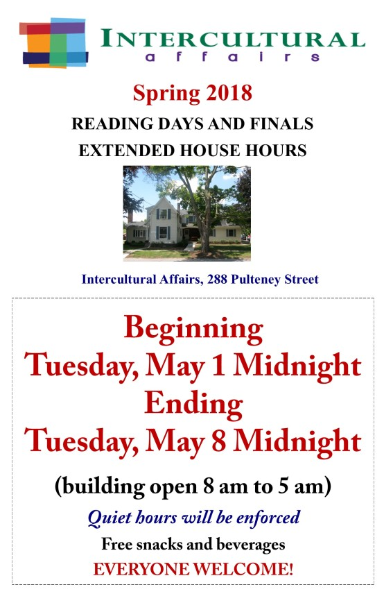 IC Reading Days-Finals Extended Hours S2018